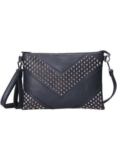 Black Rivet Zipper PU Bag