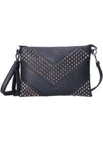 Black Rivet Zipper PU Bag