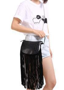 Black Chain Strap Tassel Bag