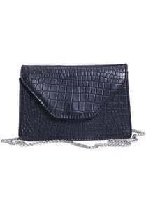 Black Chain Strap Crocodile Pattern Bag