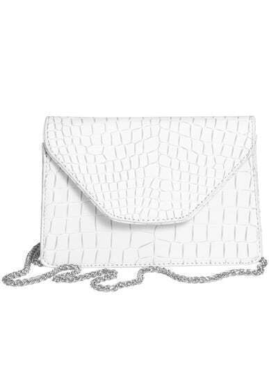 White Chain Strap Crocodile Pattern Bag