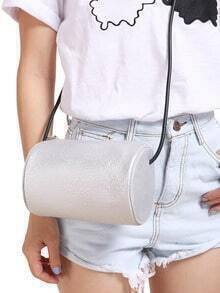 Silver Cylinder PU Shoulder Bag