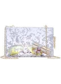Silver Chain Strap Sheer Bag