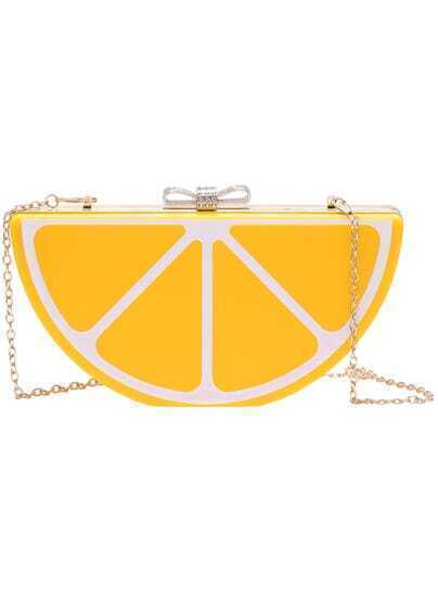 Yellow Chain Orange Bow Bag