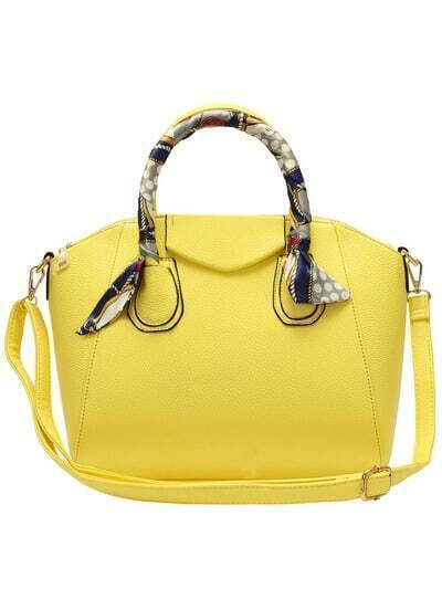 Yellow Bow Embellished PU Bag