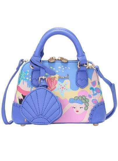 Blue Metal Embellished Sea Print Bag