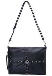 Black Rivet PU Shoulder Bag