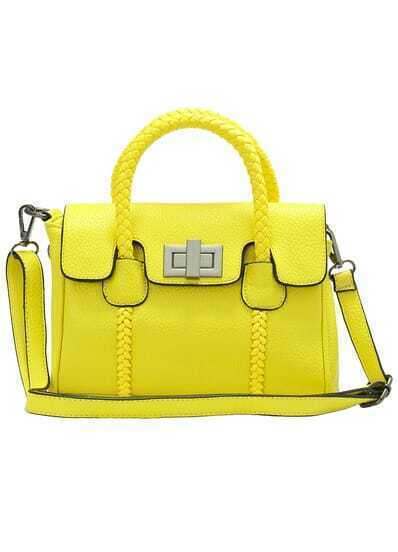 Yellow Twist Lock PU Shoulder Bag