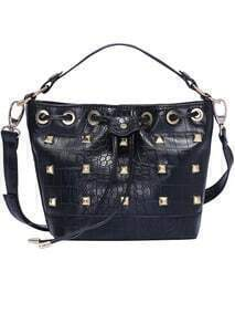 Black Rivet Drawstring PU Bag