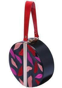 Black Lips Embroidered PU Bag