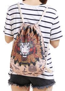 Khaki Lion Print Backpacks