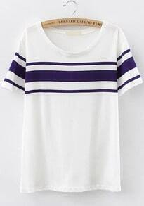 White Short Sleeve Striped Loose T-Shirt