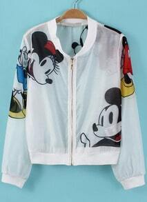 White Long Sleeve Mickey Print Crop Jacket