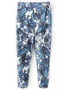 Blue Totems Print Loose Pant