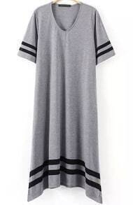 Grey Short Sleeve Striped Loose Dress