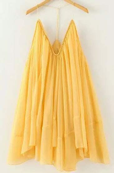 Yellow Halter Backless Loose Pleated Dress