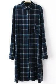 Navy Lapel Long Sleeve Plaid Shirt Dress