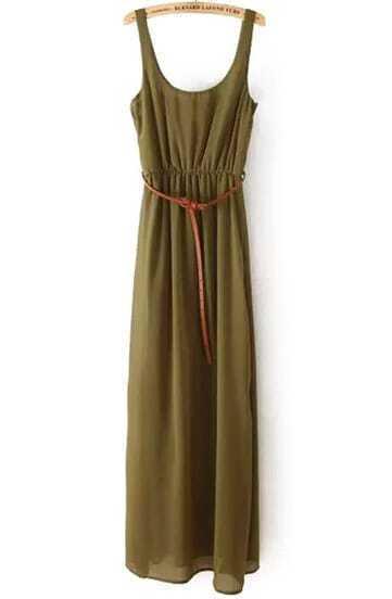 Green Spaghetti Strap Casual Maxi Dress