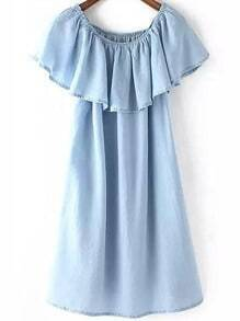 Blue Round Neck Ruffle Denim Dress