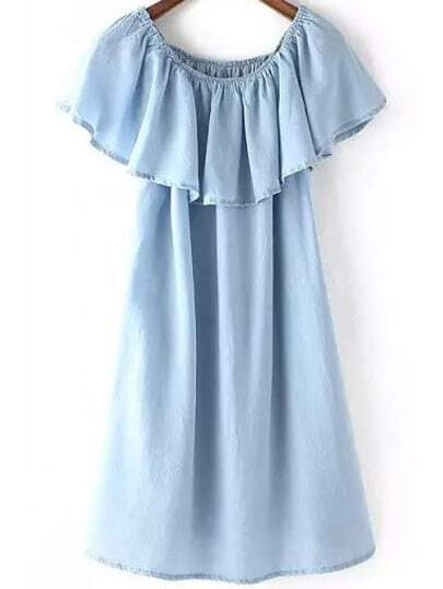 Blue Cowgirls Round Neck Ruffle Denim Dress