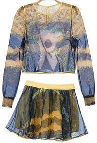 Yellow Long Sleeve Sheer Organza Crop Top With Skirt