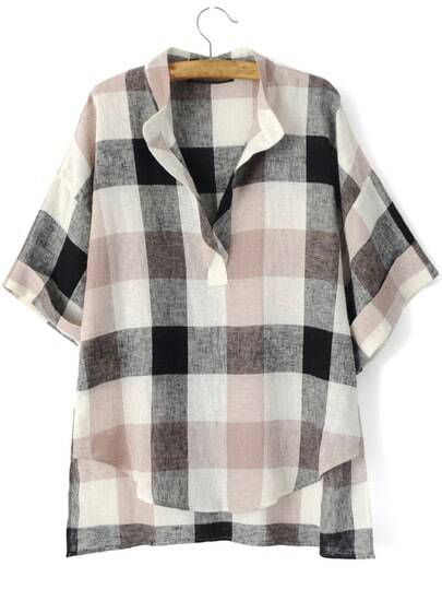 V Cut Preppy Appropriately Checkered Loose Blouse