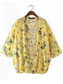 Yellow Long Sleeve Floral Loose Blouse