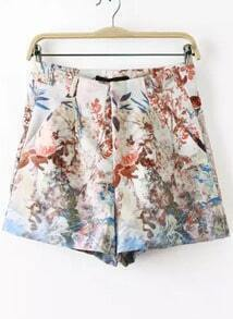 White Leaves Print Shorts