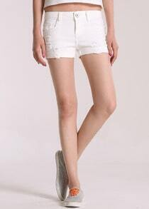 White Ripped Flange Straight Denim Shorts