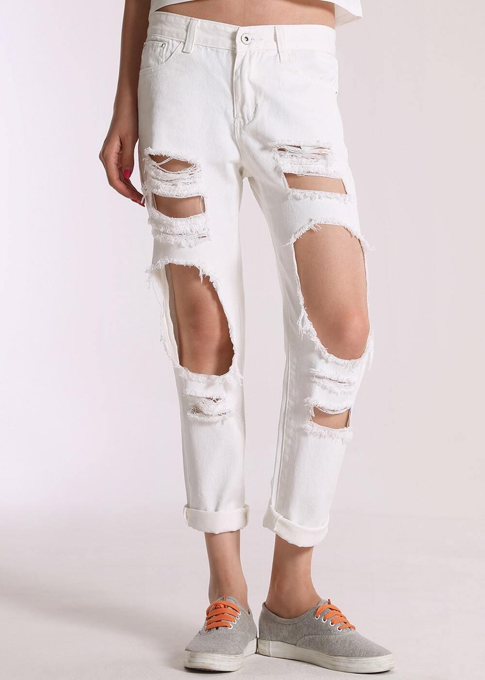 pantalon edenim d chir blanc french shein sheinside. Black Bedroom Furniture Sets. Home Design Ideas