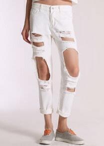 White Ripped Denim Pant