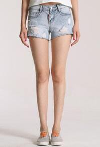 Blue Ripped Bleached Straight Denim Shorts