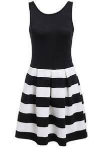 Black Sleeveless Zipper Striped Backless Dress