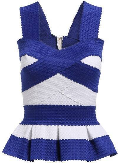 Blue White Strap Striped Ruffle Cami Top