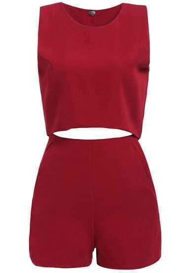 Wine Red Sleeveless Crop Top With Shorts
