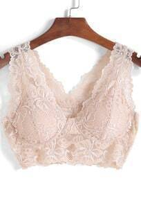 Apricot V Neck Lace Crop Lingerie