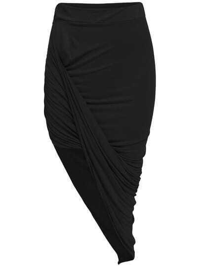 Black Slim Bodycon Asymmetrical Skirt