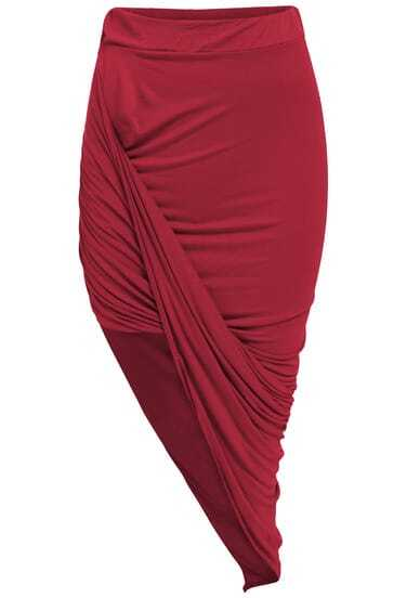 Wine Red Slim Bodycon Asymmetrical Skirt