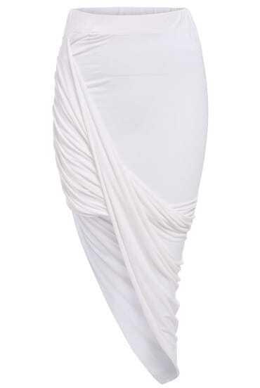 White Slim Bodycon Asymmetrical Skirt