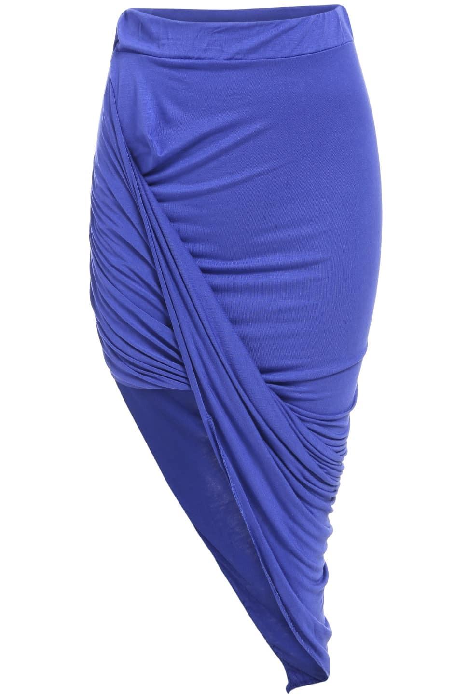 royal blue slim bodycon asymmetrical skirt shein sheinside