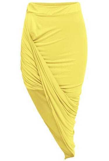 Yellow Slim Bodycon Asymmetrical Skirt