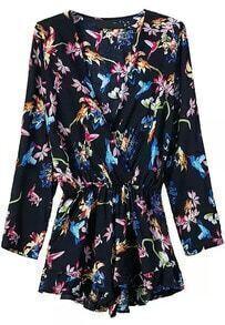 Deep V Neck Long Sleeve Florals Jumpsuit