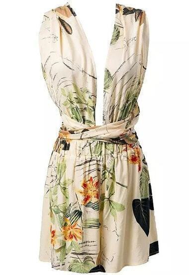 Back Criss Cross Florals Jumpsuit