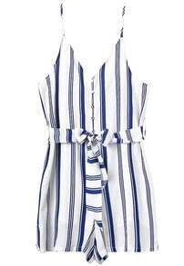 Spaghetti Strap Vertical Striped With Belt Jumpsuit