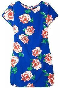 Back Zipper Flower Print Dress