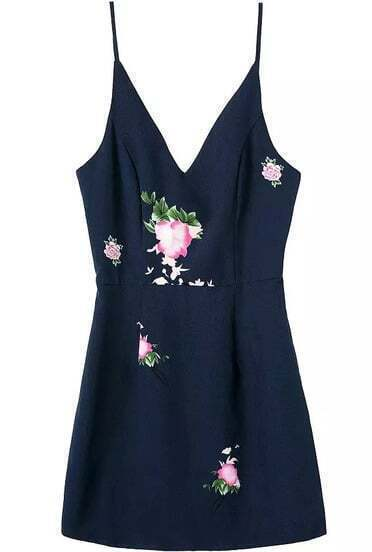 Spaghetti Strap With Zipper Flower Print Navy Dress