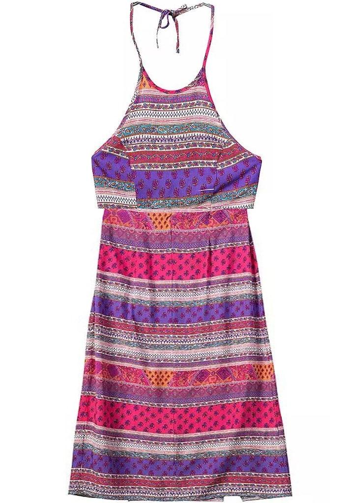Halter Tribal Print Crop Top With Split Skirt