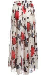 Beige Elastic Waist Floral Chiffon Skirt