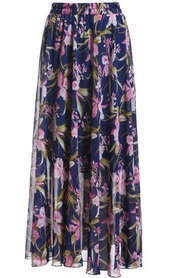 Blue Elastic Waist Floral Chiffon Skirt