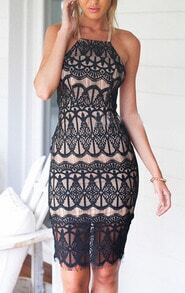 Black Corseted Criss Cross Back Eyelash Lace Bodycon Dress